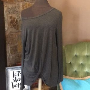 Tops - Charcoal long sleeve knotted top